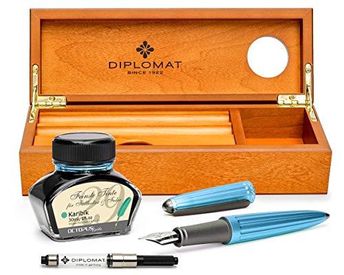 Diplomat Aero Füllhalter Set in türkis mit Edelstahlfelder M und farblich perfekt passender Füllhaltertinte in einer hochwertigen Schatulle aus Edelholz