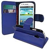 ANNART Funda Cartera Funda Solapa Lámina Tipo Libro Solapa Soporte Integrado para Samsung Galaxy S3 Mini i8190/i8200 Ve - Azul Oscuro