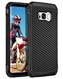 BENTOBEN Galaxy S8 Plus Phone Case, Heavy Duty Full Body Rugged Shockproof Hybrid Two Layer Slim Hard PC Soft Rubber Bumper Protective Cover for Samsung Galaxy S8 Plus 6.2', Black/Carbon Fiber Design