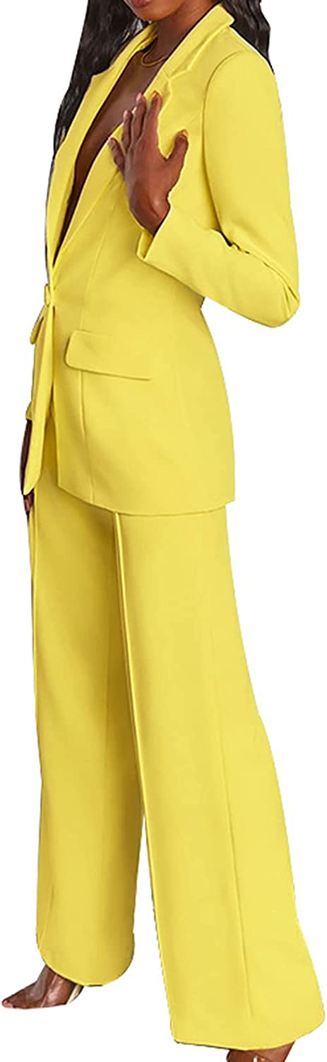 Women's 2 Piece Blazer Outfits Deep V Neck Single Button Long Sleeve Tops and Wide Leg Pant Suits Set