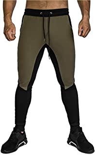 waitFOR Men Bodybuilding Yoga Trousers Solid Colour Splicing Elastic Tracksuit Bottoms Drawstring Stretch Workout Long Leg...