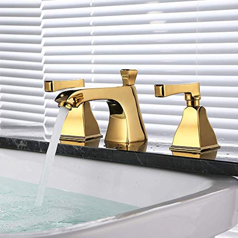 Waschbecken Wasserhahn - weit verbreitet Gold verbreitet zwei Griffe drei Lcher, 1,1