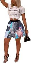 OLUOLIN Women Sexy Colorful Graffiti Cartoon Printed Elastic Hight Waist Pleated A line Swing Mini Skirt
