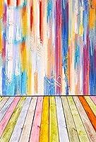 新しい5x7ft落書きの背景グランジ背景水彩の木製の背景抽象的な落書きの木製の床の壁ビニールの写真撮影の背景部屋の装飾ファッション絵画仕事キッズ大人の肖像画小道具