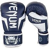 Venum Elite Boxing Gloves-White/Navy Blue-12oz