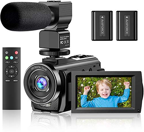 """Video Camera Camcorder YouTube Vlogging Camera FHD 1080P 30FPS 24MP 16X Digital Zoom 3"""" LCD 270 Degrees Rotatable Screen Digital Camera Recorder with Microphone,Remote Control,2 Batteries"""