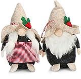 com-four® 2X Coppia Premium di Elfi di Natale Taglia M per Decorazioni Natalizie, Figure Alpine Come Decorazioni Invernali, graziosi sgabelli angolari Come Decorazioni (Beige Alpino Rosso 20 cm)