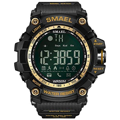 Simshew Rastreador de Ejercicios SMAEL 1617B Bluetooth Smart Watch Digital Sport Reloj Masculino Calorías Monitorización de la frecuencia cardíaca y del Sue (Color : Gold)