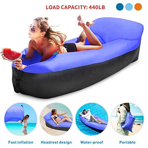 Idefair Inflatable Lounger Air Sofa Hammock, Air Lounger Anti-Air Leaking Waterproof Portable for Beach, Park, Backyard, Travelling, Camping, Hiking, Picnic (Dark Blue)