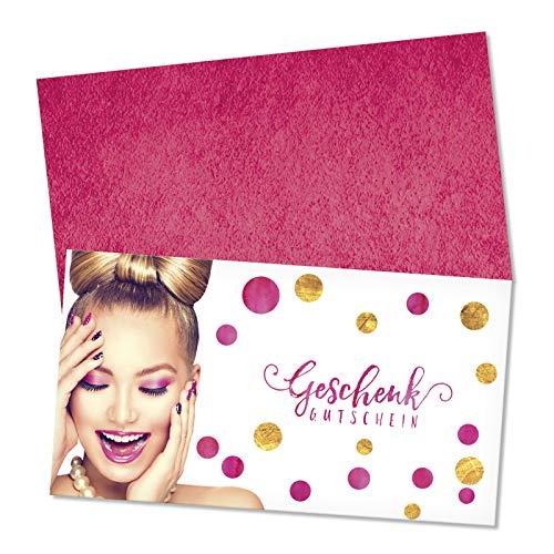 50 hochwertige Gutscheinkarten + 50 Kuverts. Gutscheine für Kosmetikstudio Kosmetik beauty Nagelstudio. Vorderseite hochglänzend. KS1271