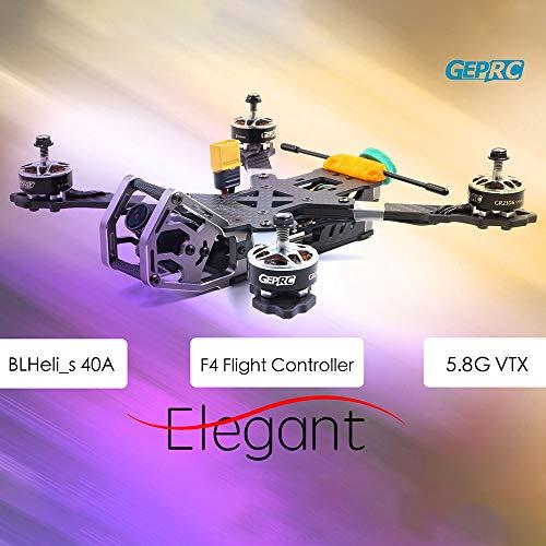 Mobiliarbus RC Quadrocopter GEPRC ELEGANT BNF mit Frsky R-XSR Empfänger 230mm 2-5S 40A BLHeli_s Voll 3K Carbon 600TVL FPV Racing Drohne für Wettkampftraining