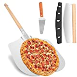 Pizza Peel + Pizza Cutter + Pizza Server, 12' x 14' Pizza Spatula with 18 inch Detachable Wooden...