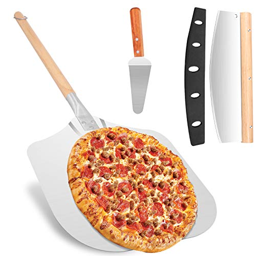 Pizza Peel + Pizza Cutter + Pizza Server, 12' x 14' Pizza Spatula with 18 inch Detachable Wooden Handle, Aluminum Metal Pizza Paddle, 3 in 1 Pizza Peel Set for Baking & Slicing Homemade Pizza Bread