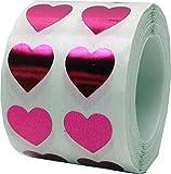 Rosas Metálicas Pegatinas Para el Corazón, 13 mm 1/2 Pulgadas Brillantes Etiquetas de San Valentín 1000 Paquete