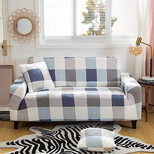 Fundas elásticas con Rayas Cruzadas Funda de sofá Antipolvo Totalmente Envolvente elástica para Sala de Estar Funda de sofá Funda de sillón A24 4 plazas