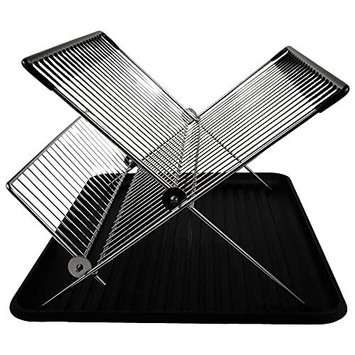 Escurreplatos Plegable con Bandeja en Color Negro | El práctico secador de Platos para su Cocina. Medidas 40 x 32 x 27 cm, Color Negro y Metal