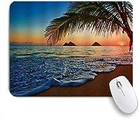 NIESIKKLAマウスパッド サンセットハワイアンビーチトロピカルパームツリーオーシャン ゲーミング オフィス最適 高級感 おしゃれ 防水 耐久性が良い 滑り止めゴム底 ゲーミングなど適用 用ノートブックコンピュータマウスマット