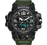 lqgpsx - Reloj digital para hombre, multifunción, para deportes al aire libre, pantalla LED grande, resistente al agua, 50 m, cronómetro, cronómetro, luz trasera, 12/24 horas, dial doble, reloj de pulsera electrónico militar, color verde