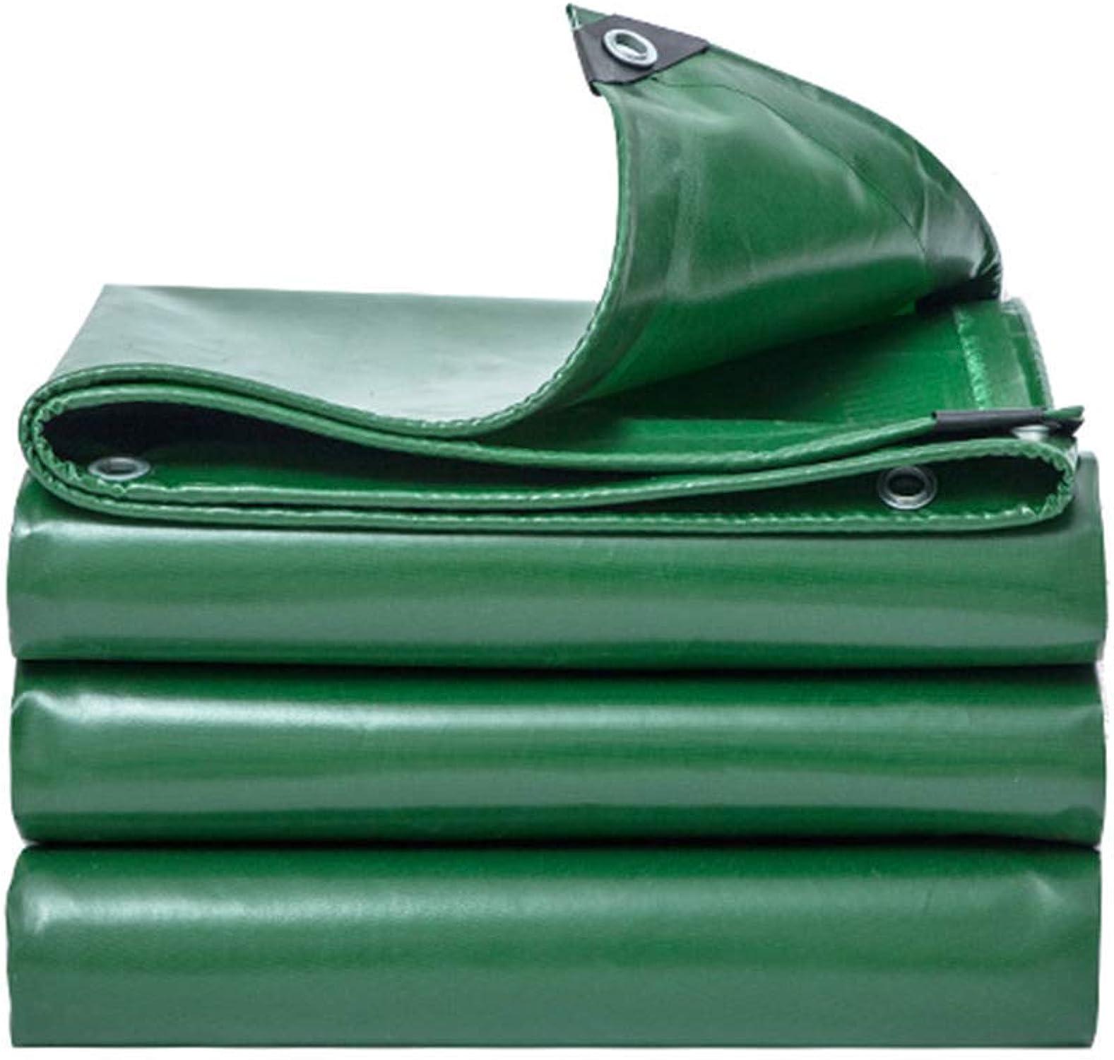 WHS Lonas para Trabajo Pesado Lona de PVC Impermeable para Uso Exterior para Acampar, Multiusos, Resistente a rasgaduras y rasgaduras, Aceite verde 530 g (Tamao   2m×2m)