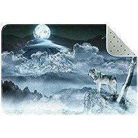 エリアラグ軽量 月のオオカミ フロアマットソフトカーペットチホームリビングダイニングルームベッドルーム