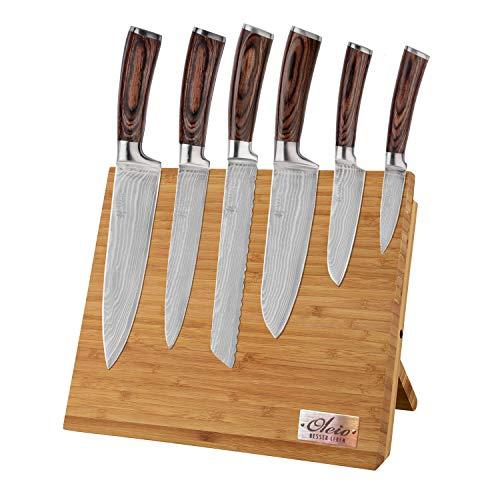 Wakoli 6er Damastmesser Profi-Set VG-10, Klingen von 8,50 cm bis 20,50 cm Länge echtes Damast Küchenmesser-Set Kochmesser Serie EDIB inkl. Messerbrett aus Bambus