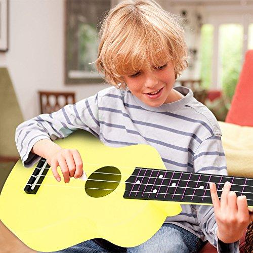Ukelele de plástico de 21 pulgadas, ukelele para niños de tono completo liso de 21 pulgadas, para la educación musical que cultiva la relación entre padres e hijos(yellow)