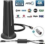 [Latest 2020] HDTV Digital Antenna 4K 1080p - 120 Mile Range, UHF & VHF Reception, ICPCB Chip, Signal Booster Amplifier, Professional Carbon Fiber Indoor TV Antenna