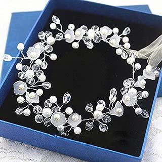 Flowers/Pearl Garland Leaf Bridal Wedding/Sweet Sixteen/Flower Girl/Quinceanera Crown Headdress (Sweet Pearls and Crystals)