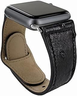 Piel Frama Apple Watch 38 mm Leather Strap - Black Cowskin-Ostrich/Black Adapter
