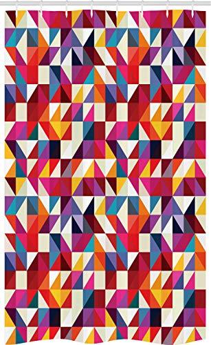ABAKUHAUS meetkundig Douchegordijn, Bauhaus Style Pattern, voor Douchecabine Stoffen Badkamer Decoratie Set met Ophangringen, 120 x 180 cm, Veelkleurig