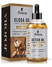 Kanzy Jojoba-olie Bio 100% voor haar huid gezichtsolie, koudgeperst, hexaanvrije olie - natuurlijke massageolie voor haar - intensieve verzorging lichaamsolie voor gezicht en cosmetica en droge huid - 120 ml