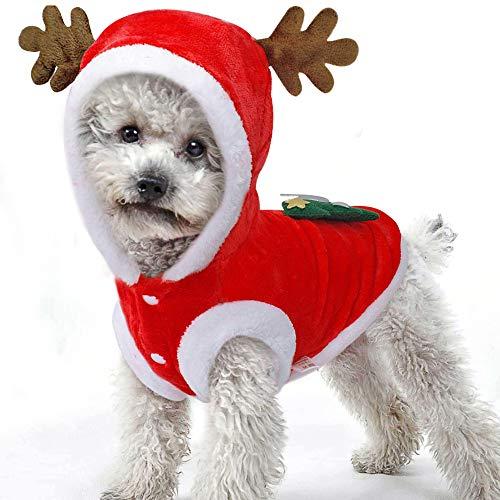 BulzEU Elchkostüm für Hunde und Katzen, mit Kapuze, Samt, für Weihnachten, warmer Party-Anzug für Teddy, Yorkshire-Terrier, Chihuahua, Zwerggspitz, festliche Geschenke