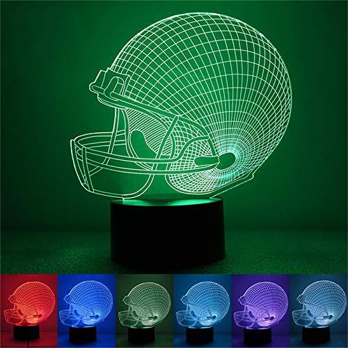 Wallfia Illusionslampe American Football Helm Licht 3D Nachtlicht Schlafzimmer Dekoration 7 Farbe Sport Nachtlicht Baby Kind Geschenk Gadget
