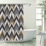 Stacy Fay Alpine Shower Curtain Chevron Rustic Cabin Fabric Modern Shower Curtain with Hooks 72 Inches Shower Curtain, Brown/Gray/Black