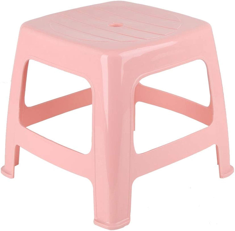 Household Thick Plastic Stool Plastic Stool European Small Square Stool Plastic Stool Bathroom Stool Change shoes Stool Stool (color   Pink)