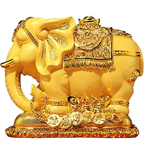 Hucha Bonita Resina En Forma De Elefante Banco De Monedas, Regalos para Amantes Niños Decoración del Hogar Oro (Color : Gold, Size : 24×18×22cm)