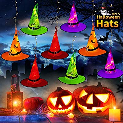 MZD8391 Halloween Decorations Lighted Witch Hats, 8Pcs Hanging Glowing Witch Hats 44ft Halloween Outdoor Lights String with 8 Lighting Modes for Outdoor, Garden, Yard, Tree