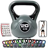 POWRX Kettlebell 2-20 kg - Ideale per Esercizi di »Functional Fitness« - Base con Gommini Antiscivolo + PDF Workout (20 kg/Nero)