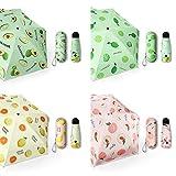 chora Mini Sombrilla De 5 Costillas, (4 Colores) Paraguas De Fruta Plegable Portátil, Paraguas De Damas con Protector Solar Al Aire Libre, Lindo Paraguas Cápsula De Dibujos Animados