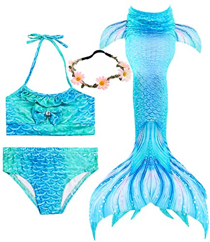 iGeeKid 3 Pcs Girls Swimsuit Mermaid for Swimming Princess Mermaid Costume Bikini Set for 3-12Y(Height 45-47in(5-6Y), A-a Blue Sea)