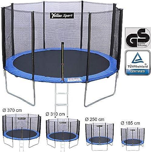 YELLOO YellooSport Trampolin Sprungmatte Elastisch Garten Salto Kinder Durchmesser 185 250 310 370cm   TüV GS geprüfte Qualität mit T-Stück