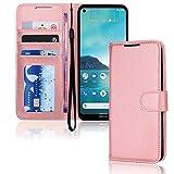TECHGEAR Funda de piel sintética para Nokia 3.4 con tapa y soporte para tarjetas, soporte y correa para la muñeca, color oro rosa con cierre magnético diseñado para Nokia 3.4