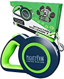 Mighty Paw Retractable Dog Leash 2.0 | 16' Heavy Duty Reflective Nylon Tape Lead for Pets Up to 50 LBS. Tangle Free Design W/ One Touch Quick-Lock Braking System & Anti-Slip Handle. (Green/Lite)