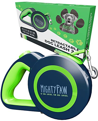 Mighty Paw Retractable Dog Leash 2.0 | 16' Heavy Duty Reflective Nylon Tape Lead for Pets Up to 110 LBS. Tangle Free Design W/ One Touch Quick-Lock Braking System & Anti-Slip Handle. (Green/Standard)