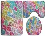 GGdjst U-Shaped Contour Rug + Lid Toilet Cover + Bath Rug 3 Piezas Juego de Alfombra de Baño Set Memory Foam Water Absorbent Bathroom Carpet Colorful Mermaid Fish Scales