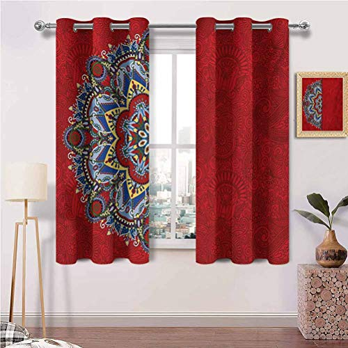 Print Blackout Curtains with Grommets Ukranian Design Half with Swirls and Flowers Image Darken the room Set of 2 Panels (31.5 x 63 Inch)