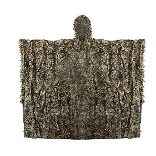Mexidi Woodland Camouflage Ghillie Poncho Leaf Jungle Hooded Camo Suit Lightweight Breathable Hunting Clothing Set for Outdoor Airsoft, Army Tactical Camouflage, Wildlife Photography (Camouflage)