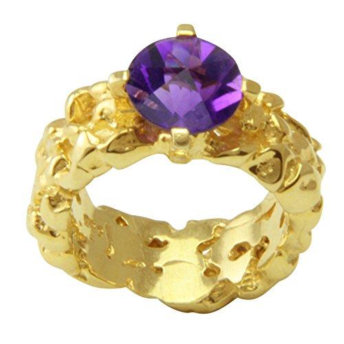 Esquí Elka–Juego de diseño JOYAS amatista anillo oro oro herrero trabajo (585) Oro Amarillo–oro anillo con amatista Spirit Sun–Amatista anillo con Expertise
