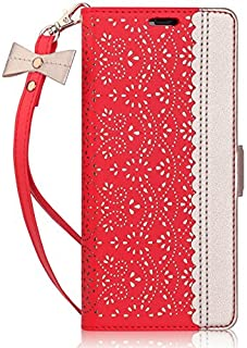 iPhone 8 Plus Case,iPhone 7 Plus Case, WWW [ Mirror Series] RFID-Resisting PU Leather Case Kickstand Flip Case with Card Slots and Mirror for iPhone 7 Plus/8 Plus Red