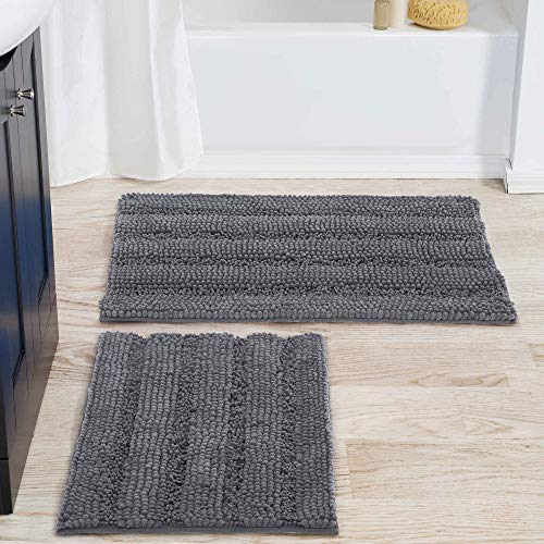 NICETOWN Grey Bathroom Rug Sets, Extra Thick Bath Rugs for Bathroom, Anti-Slip Soft Plush Chenille Shaggy Bath Mats, Living Room Bedroom Mats, Water Absorbent Floor Carpets (20 x 32 Plus 17 x 24)
